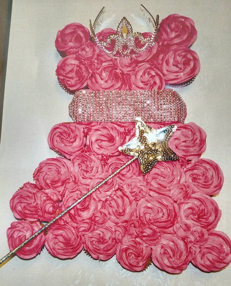 Princess Cupcake Cake for Heather_Pink Velvet and Vanilla Bean Pink Velvet Marble